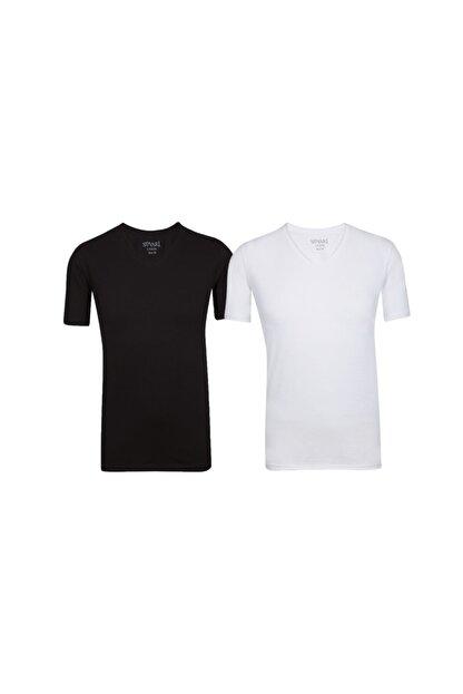 SÜVARİ Dar Kalıp V Yaka Likralı T-shirt 2'li