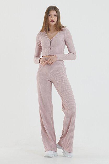 COMEOR Kadın Pembe Önden Düğmeli Uzun Kollu Crop Takım