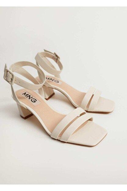 Mango Çizgili Topuklu Sandalet