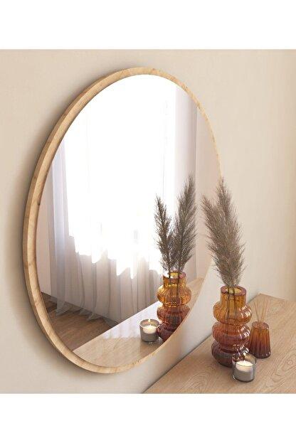 MONEayna Dekoratif Yuvarlak Ayna Natural Antre Hol Koridor Duvar Salon Mutfak Banyo Wc Ofis Aynası Mg301