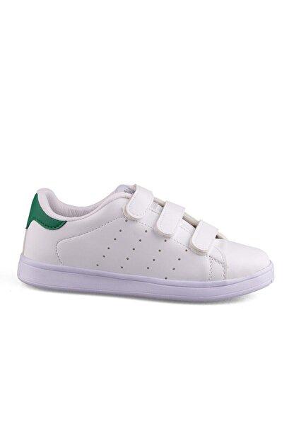 AlbiShoes Unisex Beyaz Yeşil Cırtlı Sneaker - Byc75
