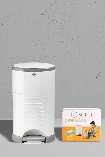 Korbell Bebek Bezi Çöp Kovası Sistemi+495 Adet Bez Kapasiteli Çöp Poşeti