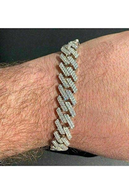 34528 Chain 13mm Silver Prong Cuban Bileklik