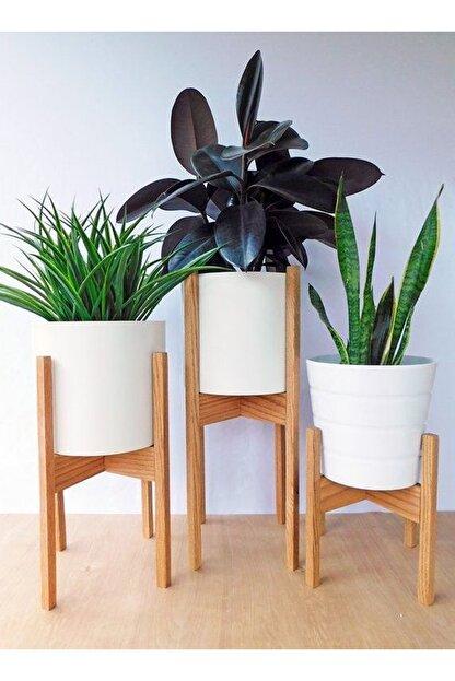 Platinreyon Ahşap Saksı Standı Çiçeklik Bahçe Dekoru Dekoratif Saksılık 3lü Set