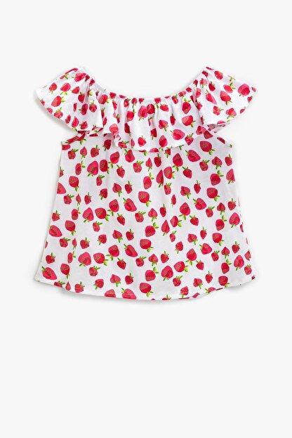 Koton Kız Çocuk Kırmızı Desenli T-Shirt 1YKG17519OK