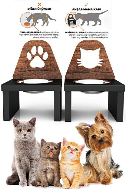 Kanguru Shopping Minnoş Kedi & Minnoş Pati Kedi & Köpek Ahşap Mama Ile Su Kabı Paslanmaz Çelik