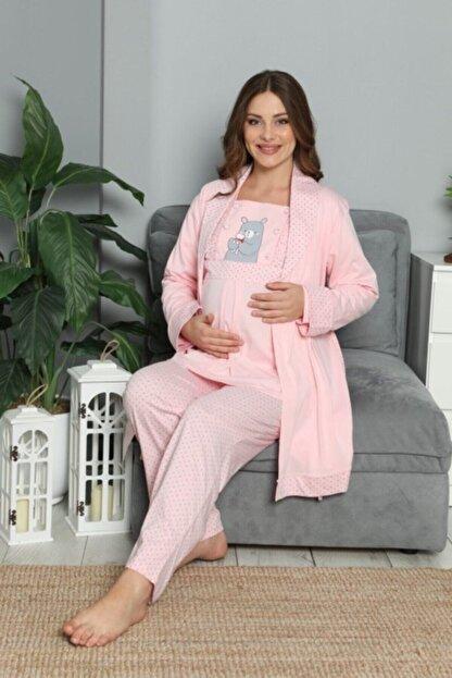 BOYRAZ Kadın Pembe Hamile Lohusa Sabahlıklı Pijama Takımı 3'lü