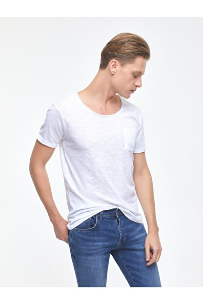 Ltb Erkek  Beyaz  Kısa Kol Geniş Yaka T-Shirt 012208450660890000