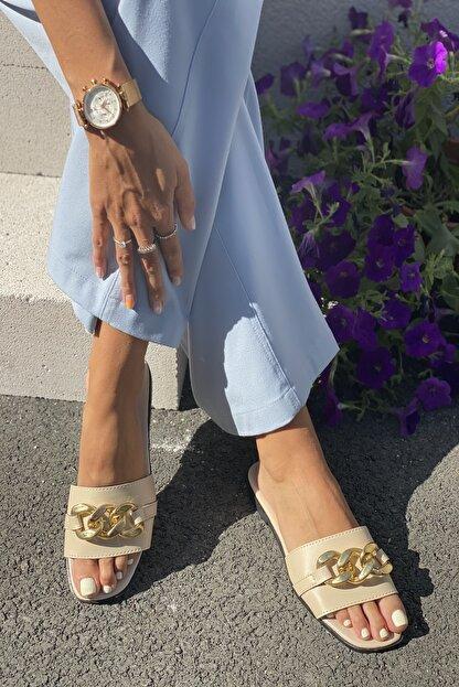 İnan Ayakkabı Kadın Bej Zincirli Terlik