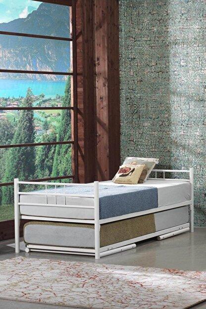 Unimet Yavrulu Ikiz Ferforje Metal Karyola-beyaz