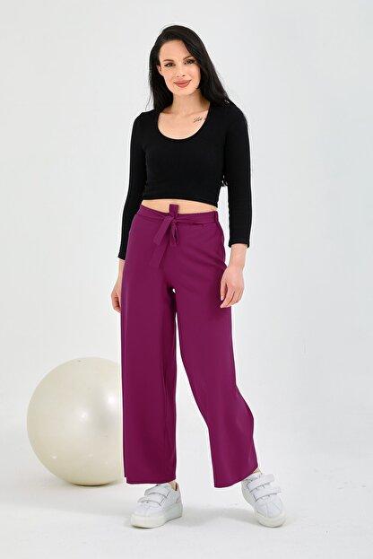 Gentekstil Kadın Fuşya Bel Lastikli Genplus Rahat Kesim Pantolon