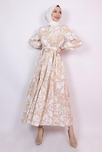 ENDERON Beyaz Çiçekli Kloş Tesettür Mevsimlik Elbise