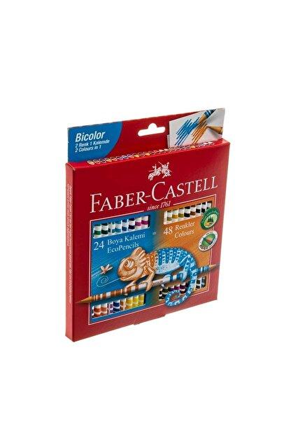 Faber Castell Faber Bicolor 24x2 Renk Uzun Kuru Boya Kalemi 120624