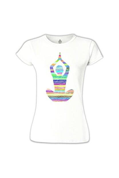 Lord T-Shirt Kadın Beyaz Yoga Lines Tshirt