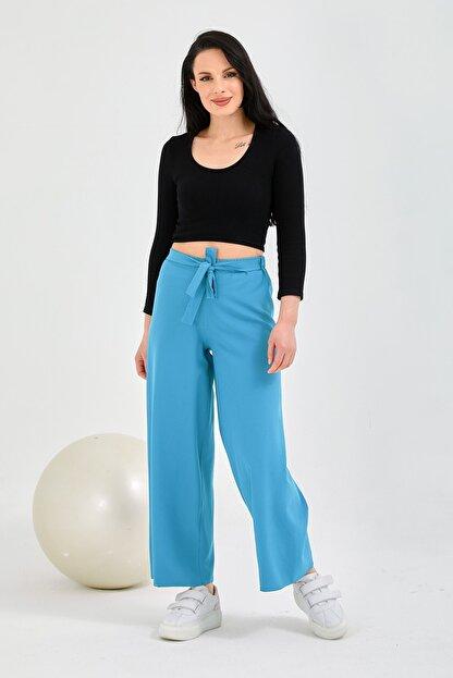 Gentekstil Kadın Gök Mavisi Bel Lastikli Rahat Kesim Pantolon