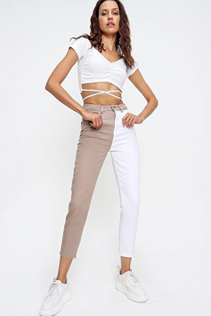 Trend Alaçatı Stili Kadın Bej Renk Bloklu Yüksek Bel Jean ALC-X6437