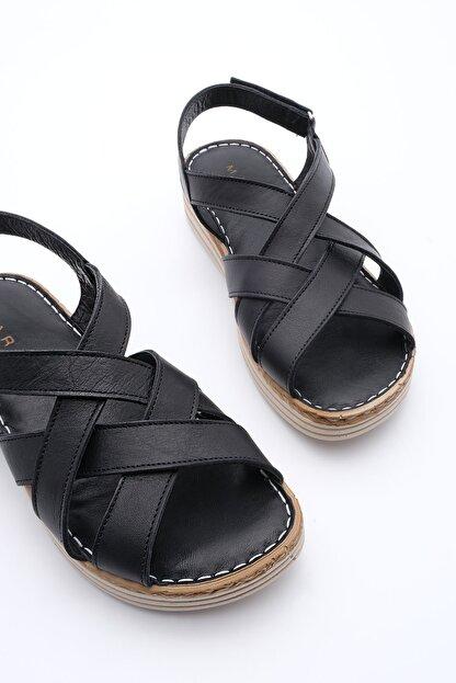 Marjin Kadın Hakiki Deri Sandalet Foletasiyah