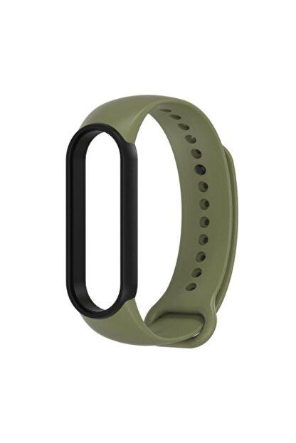 Pars Online Xiaomi Mi Band 5/6 Uyumlu Akıllı Bileklik Kordon Antialerjik Silikon Yeşil-siyah