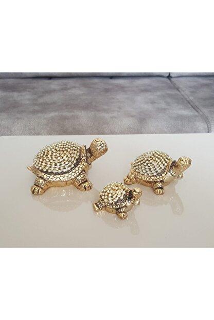 Modafeneri 3lü Gold Taşlı Kaplumbağa Biblo