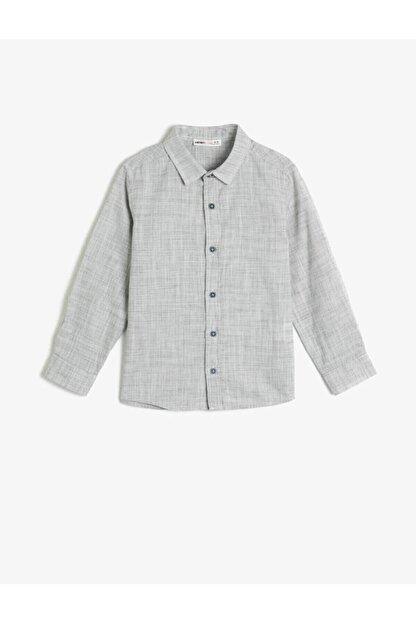 Koton Erkek Çocuk Gri Kırçıllı Kumaştan Uzun Kollu Klasik Yaka Gömlek