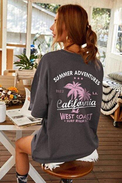 Millionaire Kadın Antrasit Oversize California Baskılı T-shirt