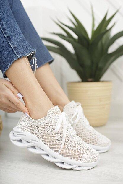 McDark Kadın Beyaz Dantelli Sneaker