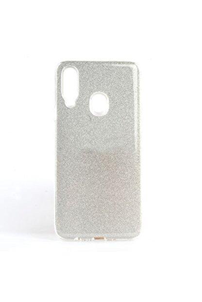 Gramaphone Galaxy A20s Kılıf Simli Parlak Silikon Gümüş