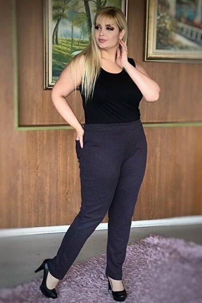 LİKRA Kadın Mor Büyük Beden Beli Lastikli Full Lı Çelik Interlok Pantolon