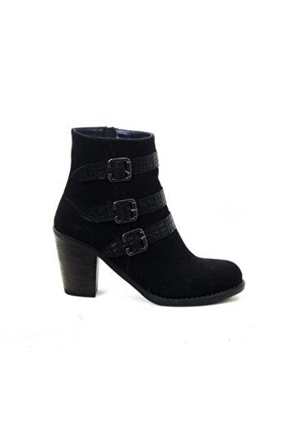 ayakkabiyolla Kadın Siyah Tokalı Topuklu Bot