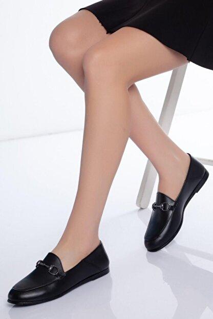 Diego Carlotti Kadın Siyah Hakiki Deri Günlük Babet Ayakkabı