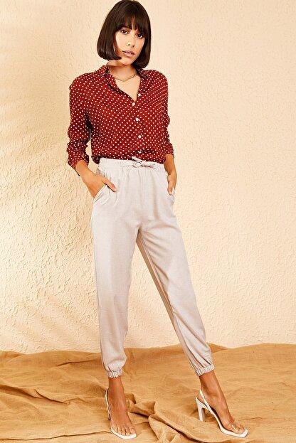 Bianco Lucci Kadın Açık Gri Beli ve Paçası Lastikli Mevsimlik Rahat Pantolon 10111026