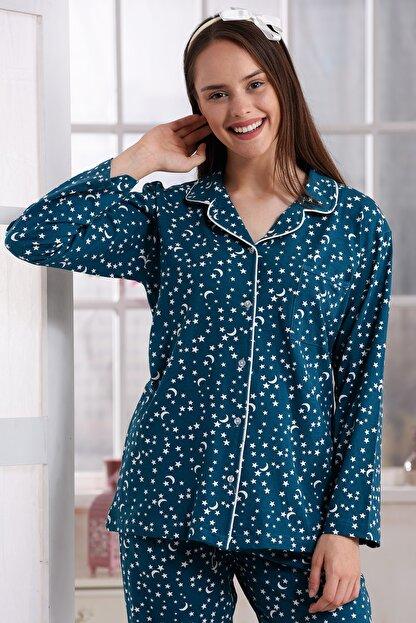 Emose Kadın Yeşil Düğmeli Lohusa Pijama Takımı