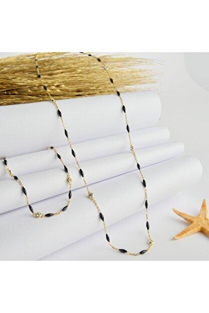 Lieza Siyah Mineli Zincir Kolye Ve Bileklik Jewelry Stg000035
