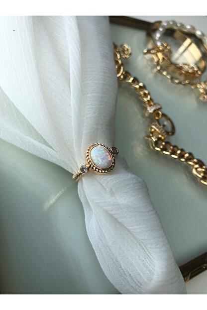 MİSSHİNG Beyaz Opal Taş Ayarlanabilir Gold Yüzük