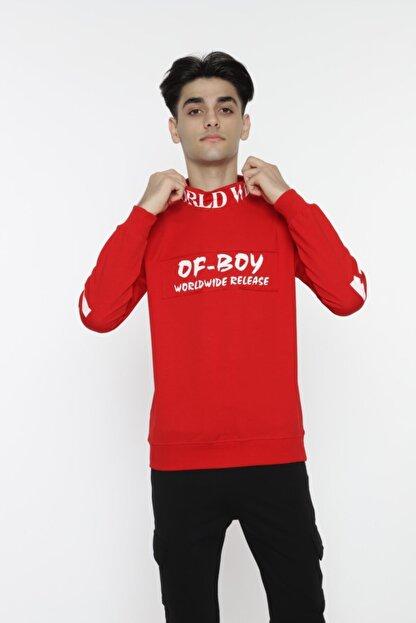 piccolomondokids Erkek Çocuk Kırmızı Balıkçı Yaka Sweatshirt Art007k