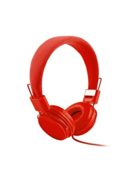 Kakusan Kafa Bantlı Color Kulaklık Mikrofonlu Kablolu Katlana Bilir Kulaklık Kırmızı