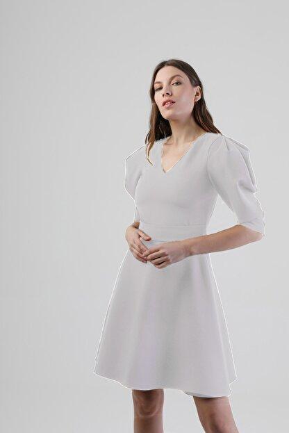 Lefon Kadın Beyaz Karpuz Kol Elbise