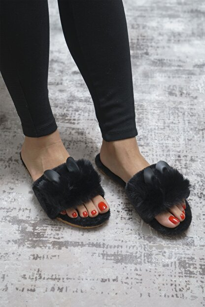 OCT Shoes Siyah Kulaklı Peluş Terlik 1028