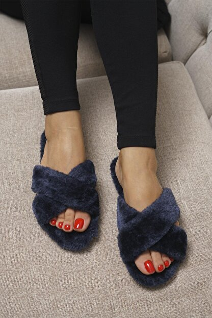 OCT Shoes Lacivert Kadın Terlik TS1026