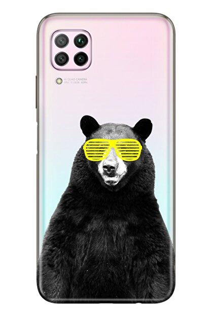 Cekuonline Huawei P40 Lite Uyumlu Tıpalı Kamera Korumalı Silikon Kılıf Kanye Bear