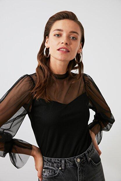 TRENDYOLMİLLA Siyah Tül Örme Bluz TWOAW20BZ1132