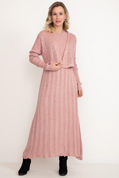 D-Paris Kadın Pudra Rengi Triko Elbise