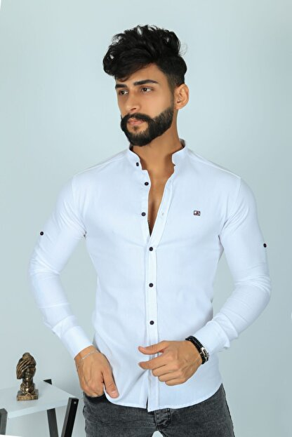 JİYAN Erkek Beyaz Slim Fit Gömlek