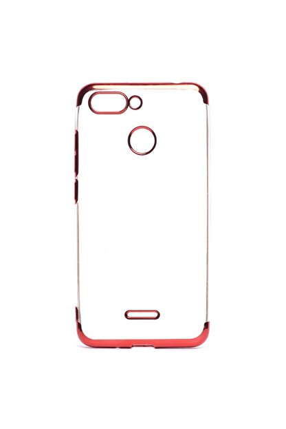 Dijimedia Xiaomi Redmi 6 Dört Köşeli Lazer Silikon Kırmızı  Kılıf
