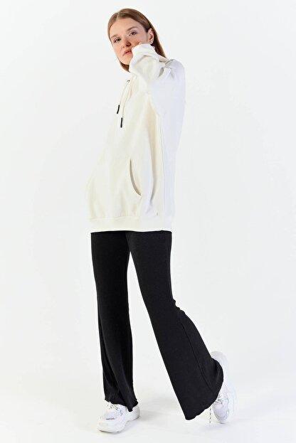 Addax Kadın Ekru Kapüşonlu Sweatshirt  S8641