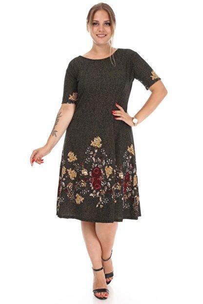 Alesia Kadın Haki Çiçek Desenli Elbise
