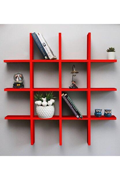 Webotto Dekoratif Çoklu Duvar Rafı Kitaplık Kırmızı