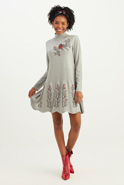 Mio Secret Kadın Dik Yaka Eteği Taşlı Triko Elbise