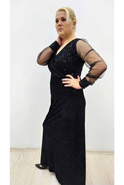 hilaltrend Kadın Siyah Kadife Pul Payet İşlemeli Abiye Elbise