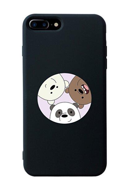 Mupity Kafadar Ayılar Tasarımlı Siyah Lansman Kılıf Iphone 7-8 Plus
